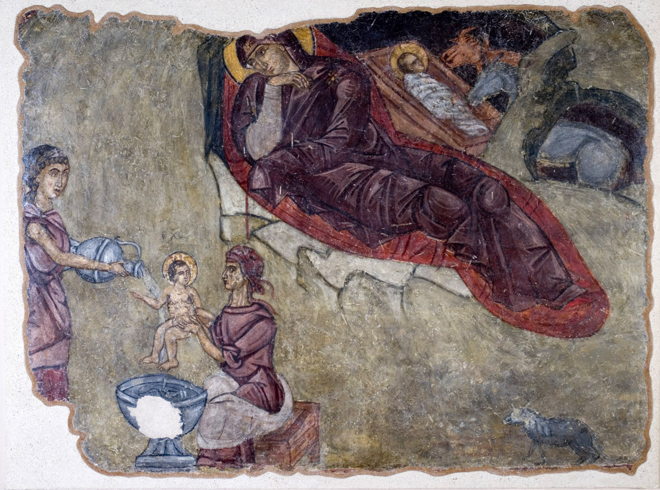 Η Γέννηση του Χριστού. Λεπτομέρεια με τη γέννηση και το λουτρό του βρέφους