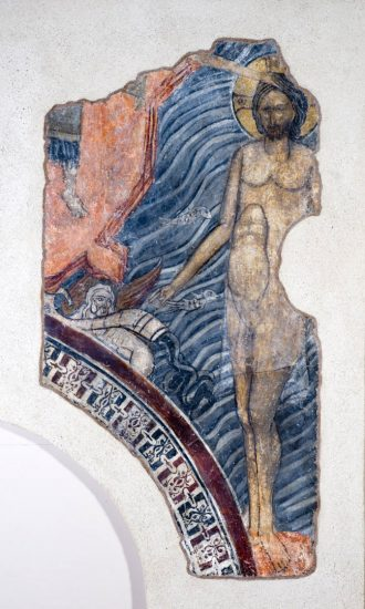 Η Βάπτιση του Χριστού. Λεπτομέρεια με τον βαπτιζόμενο Χριστό και την προσωποποίηση του ποταμού Ιορδάνη